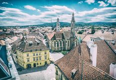 Historic Main square from Fire tower, Sopron. Hungary. Travel destination. Architectural theme. Analog photo filter with scratches Royalty Free Stock Photography