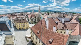 Historic Main square from Fire tower, Sopron, Hungary. Panoramic photo. Travel destination. Architectural theme Stock Photo