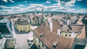 Historic Main square from Fire tower, Sopron. Hungary. Panoramic photo. Travel destination. Architectural theme. Analog photo filter with scratches Stock Images