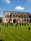 Picturesque Wiltshire, Malmesbury Abbey. Historic Malmesbury Abbey in spring sunshine, Wiltshire, UK Stock Photo