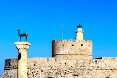 Historic Mandraki Harbor with St. Nicholas Fortress on the Island of Rhodes, Greece Stock Image