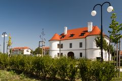 Manor house with garden in sunny summer day. Historic manor-house of the Ghyczy in village Nove Sady Slovakia Stock Photo
