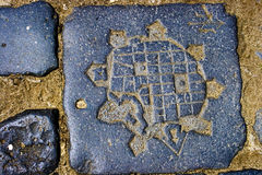 Historic map. Detail with historic map from Timisoara, included on pave. July 2009 Stock Photos