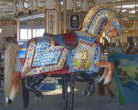 Historic Marcus Illions Horse on the B&B Carousel. Stock Image