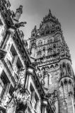 Historic Marienplatz in Munich in black and white Royalty Free Stock Photo
