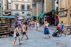 Historic market hall Loggia del Mercato Nuovo in Florence, Italy. Florence, Italy - July 06, 2016: historic market hall Loggia del Mercato Nuovo with Stock Images