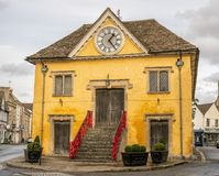 The historic Market Hall, Tetbury in The Cotswolds, Gloucestershire. United Kingdom. Tetbury is a Cotswold town of great architectural interest. It remains stock image