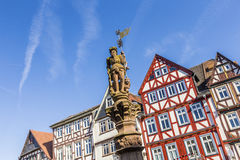 Historic market place with statue in Butzbach Stock Images