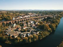 Historic photo of yarm taken by a drone royalty free stock images