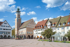 The historic marketplace with the town hall in Freudenstadt Stock Photography