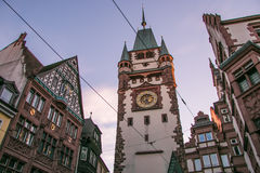 Historic Martinstor Clock tower in Freiburg Stock Photography