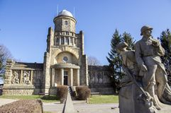 Historic Masaryk lookout tower of independence in Horice in Czech republic, sunny day. Blue sky royalty free stock photography
