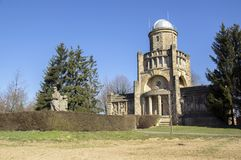 Historic Masaryk lookout tower of independence in Horice in Czech republic, sunny day stock photos