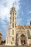 Historic Matthias' Church in Budapest. Tourists visit Matthias Church circa in August, 2012 in Budapest, Hungary. This historic landmark will celebrate it's Royalty Free Stock Images