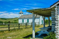 Historic McDougall Church and caretakers house. Merely, Alberta, Canada. Church has since burned to the ground Stock Photo
