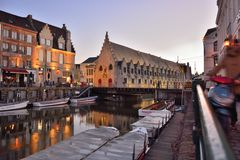 Historic Meat house, indoor market, Old part of the famous Medieval city Ghent Stock Photos