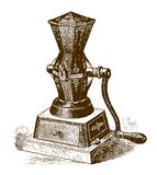 Historic mechanical coffee and spice grinder. After an etching or engraving from the 19th century vector illustration
