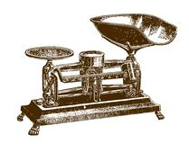 Historic mechanical grocery balance. After an engraving or etching from the 19th century vector illustration