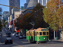 Historic Melbourne Tram Climbs Hill in Autumn Stock Photography