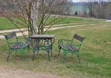 Historic metal garden furniture. View of historic metal garden furniture, Austria Stock Photo