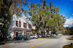 Historic Micanopy Florida. Micanopy Historic district; Cholokka Blvd. and Early Street in Micanopy, Florida.  This tree lined street is full of antique shops and Royalty Free Stock Image