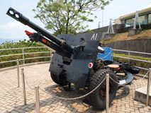 Historic military cannon for coastal defence royalty free stock photo