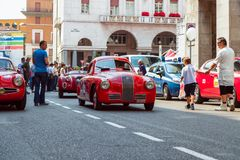 The historic Mille Miglia 1000 miles car race in Brescia city. Historic car FIAT 1100 S Berlinetta `Gabbone` year 194. 1000 Miglia 2017, Brescia - Italy. May 17 stock images