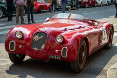 The historic Mille Miglia 1000 miles car race in Brescia city, Italy. Alfa Romeo 6c 2500, year 1939 royalty free stock image