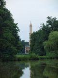Historic minaret. Look across the pond to the historic minaret. South Moravia stock photos