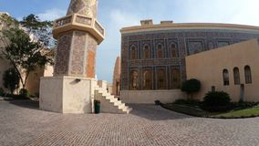 Katara Mosque and Minaret. Historic Minaret of the Mosque in Katara. Katara is a cultural village also named valley of cultures in Doha, West Bay, Qatar. Middle stock video footage
