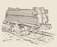 The historic Minecart. Track railway and old wooden wagon, trolley in Germany. Vintage hand drawing illustration. Styling engraving. Using picture for your Stock Photography