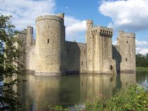 Historic moated Bodiam castle in East Sussex, England stock images