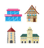 Historic and Modern Buildings Flat Vectors Set Stock Images