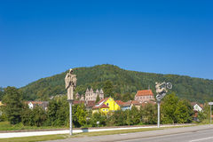 The historic monastery of Hirsau with sculptures of Peter Lenk Royalty Free Stock Images