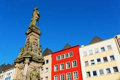 Historic monument of a fountain in Cologne. Historic monument of a fountain on the Old Market Square in Cologne, Germany Stock Photos