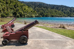 Historic monument at Ship Cove in Marlborough Sounds, New Zealand Royalty Free Stock Image