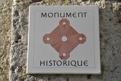 Historic monument tile in Saint Emilion royalty free stock photo