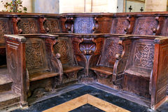 Historic and monumental church bench Royalty Free Stock Photos