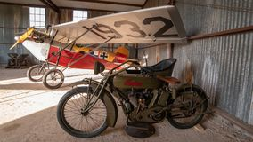 Historic Motorcycle, Sidecar and Aircraft royalty free stock photos