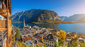 Historic mountain village of Hallstatt with lake in fall, Austria Stock Image
