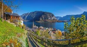 Historic mountain village of Hallstatt with lake in fall, Austria Royalty Free Stock Photos