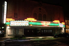 Historic movie theater marquee advertising It`s A Wonderful Life Royalty Free Stock Photo