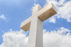 Historic Mt. Helix Cross With Cloudy Blue Sky Stock Image