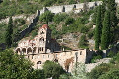 Historic mystras. In peloponnese - greece Royalty Free Stock Photography
