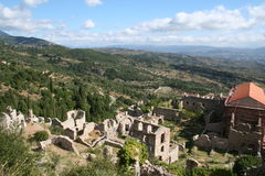 Historic mystras. In peloponnese - greece Royalty Free Stock Photo