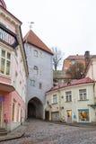 Historic narrow street of the old town in Tallinn Pikk Jalg. TALLINN, ESTONIA- December 29, 2013: Historic narrow street of the old town in Tallinn Pikk Jalg Stock Images