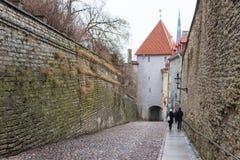 Historic narrow street of the old town in Tallinn Pikk Jalg. TALLINN, ESTONIA- December 29, 2013: Historic narrow street of the old town in Tallinn Pikk Jalg Royalty Free Stock Image
