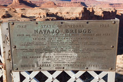 Historic Navajo Bridge Sign Stock Images