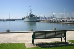 Historic navy ship rests in port of Melbourne, Aus Stock Photo