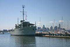 Historic navy ship rests in port of Melbourne, Aus. Historic WWI military vessel at display in Melbourne, Australia royalty free stock image